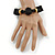 Black, Natural Wood and Resin Bead Stretch Bracelet - 18cm L - view 2