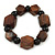 Brown Wood, Black Ceramic Beads Flex Bracelet - 18cm L