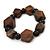 Brown Wood, Black Ceramic Beads Flex Bracelet - 18cm L - view 3