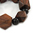 Brown Wood, Black Ceramic Beads Flex Bracelet - 18cm L - view 4