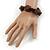 Brown Wood, Black Ceramic Beads Flex Bracelet - 18cm L - view 2