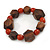 Brown Wood, Carrot Red Ceramic Beads Flex Bracelet - 18cm L - view 2
