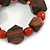 Brown Wood, Carrot Red Ceramic Beads Flex Bracelet - 18cm L - view 3