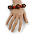 Brown Wood, Carrot Red Ceramic Beads Flex Bracelet - 18cm L - view 4
