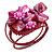 Fuchsia Pink Shell Bead Flower Wired Flex Bracelet - Adjustable