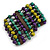 Wide Wood and Acrylic Bead Flex Bracelet (Purple/ Teal/ Olive/ Brown) - 19cm Long (Large) - view 3
