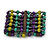 Wide Wood and Acrylic Bead Flex Bracelet (Purple/ Teal/ Olive/ Brown) - 19cm Long (Large)