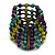 Wide Wood and Acrylic Bead Flex Bracelet (Purple/ Teal/ Olive/ Brown) - 19cm Long (Large) - view 4