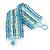 Wide Handmade Light Blue/ White Glass Bead Bracelet - 16cm L/ 2cm Ext