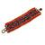 Wide Handmade Carrot Red/ Peacock/ Bronze Glass Bead Bracelet - 16cm L/ 2cm Ext - view 4