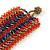 Wide Handmade Carrot Red/ Peacock/ Bronze Glass Bead Bracelet - 16cm L/ 2cm Ext - view 5