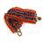 Wide Handmade Carrot Red/ Peacock/ Bronze Glass Bead Bracelet - 16cm L/ 2cm Ext