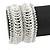 Wide Handmade Transparent/ White Glass Bead Bracelet - 16cm L/ 2cm Ext