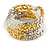 Multistrand Acrylic Bead Coiled Flex Bracelet In Silver, Gold, Transparent - Adjustable