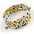 Multistrand Glass, Acrylic Bead Coiled Flex Bracelet (Silver, Light Blue, Gold, Bronze) - Adjustable - view 3