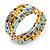 Multistrand Glass, Acrylic Bead Coiled Flex Bracelet (Silver, Light Blue, Gold, Bronze) - Adjustable
