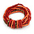 Multistrand Red/ Coral Glass, Brown Acrylic Bead Flex Bracelet - 18cm Long