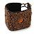 Handmade Boho Style Bronze/ Amber Glass Bead Wristband Bracelet - 16cm L/ 2cm Ext - view 3