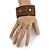 Handmade Boho Style Bronze/ Amber Glass Bead Wristband Bracelet - 16cm L/ 2cm Ext - view 2