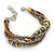 Bronze/ Grey/ Taupe Glass Bead with Gold Metal Rings Multistrand Bracelet - Small - 16cm L/ 5cm Ext - view 3