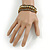 Bronze/ Grey/ Taupe Glass Bead with Gold Metal Rings Multistrand Bracelet - Small - 16cm L/ 5cm Ext - view 2