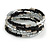 Black Glass Silver Acrylic Bead Multistrand Coiled Flex Bracelet Bangle - Adjustable