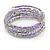 Multistrand Glass, Acrylic Bead Coiled Flex Bracelet (Silver, Lavender) - Adjustable - view 3