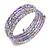 Multistrand Glass, Acrylic Bead Coiled Flex Bracelet (Silver, Lavender) - Adjustable