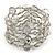 Statement Wide Dim Grey Glass Bead Multistrand Flex Bracelet - 20cm (Adjustable) Large