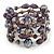 Statement Wide Purple Glass Bead Multistrand Flex Bracelet - 20cm (Adjustable) Large