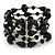 Statement Wide Black Glass Bead Multistrand Flex Bracelet - 20cm (Adjustable) Large