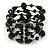 Statement Wide Black Glass Bead Multistrand Flex Bracelet - 20cm (Adjustable) Large - view 3