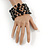 Statement Wide Black Glass Bead Multistrand Flex Bracelet - 20cm (Adjustable) Large - view 2