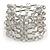 Statement Wide Transparent Glass Bead Multistrand Flex Bracelet - 20cm (Adjustable) Large
