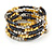 Multistrand Glass, Acrylic Bead Coiled Flex Bracelet (Silver, Charcoal Grey, Gold, Bronze) - Adjustable - view 3