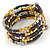 Multistrand Glass, Acrylic Bead Coiled Flex Bracelet (Silver, Charcoal Grey, Gold, Bronze) - Adjustable - view 4