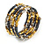 Multistrand Glass, Acrylic Bead Coiled Flex Bracelet (Silver, Charcoal Grey, Gold, Bronze) - Adjustable