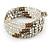 Multistrand Glass, Acrylic Bead Coiled Flex Bracelet (Silver, Transparent, Bronze) - Adjustable - view 3
