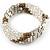 Multistrand Glass, Acrylic Bead Coiled Flex Bracelet (Silver, Transparent, Bronze) - Adjustable - view 4