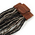 Black/ Grey Glass Bead Multistrand Flex Bracelet With Wooden Closure - 19cm L - view 4