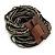 Black/ Grey Glass Bead Multistrand Flex Bracelet With Wooden Closure - 19cm L - view 2