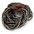 Black/ Grey Glass Bead Multistrand Flex Bracelet With Wooden Closure - 19cm L - view 6
