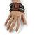 Black/ Grey Glass Bead Multistrand Flex Bracelet With Wooden Closure - 19cm L - view 3
