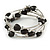 Multistrand Black Acrylic Heart Bead Coiled Flex Bracelet In Silver Tone - Adjustable - view 3