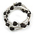 Multistrand Black Acrylic Heart Bead Coiled Flex Bracelet In Silver Tone - Adjustable - view 4