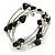 Multistrand Black Acrylic Heart Bead Coiled Flex Bracelet In Silver Tone - Adjustable
