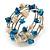 Blue/ Natural Shell Nugget Multistrand Coiled Flex Bracelet in Silver Tone - Adjustable