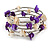 Purple/ Natural Shell Nugget Multistrand Coiled Flex Bracelet in Silver Tone - Adjustable