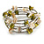 Olive Green/ Natural Shell Nugget Multistrand Coiled Flex Bracelet in Silver Tone - Adjustable - view 3