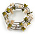 Olive Green/ Natural Shell Nugget Multistrand Coiled Flex Bracelet in Silver Tone - Adjustable - view 4